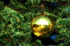 Guld- julgarnering på trädet Arkivfoton