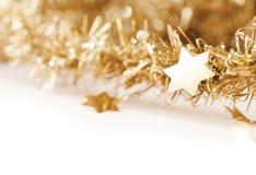 Guld- julgarneringbakgrund Fotografering för Bildbyråer