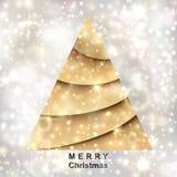 Guld- julgran på silverbakgrund stock illustrationer
