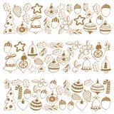 Guld- julmodellram med glade julbeståndsdelar, bollar, glad jul för garnering och järnek för lyckligt nytt år vektor illustrationer