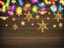 Guld- julprydnadbollar med stjärnan 10 eps Arkivfoto