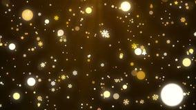 Guld- julsnöflingor, stjärna och kretsad ljusbakgrund vektor illustrationer