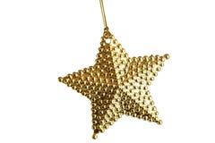 Guld- julstjärnaprydnad som isoleras på vit Royaltyfria Bilder
