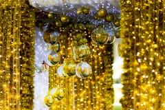 guld- julstruntsaker Royaltyfri Fotografi