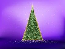 Guld- julträd på violet. EPS 10 Arkivfoto