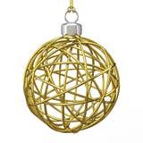 Guld- jultrådboll 3d framför Royaltyfri Bild