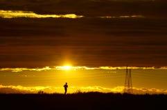 Guld- körning in i solen, solnedgång med powerlinen Royaltyfri Bild