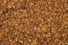Guld- kaffebönor för bakgrund och textur Arkivbild