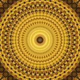 Guld- kalejdoskop som mandala Fotografering för Bildbyråer
