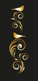 Guld- karaktärsteckning med den abstrakta blom- prydnaden Arkivfoto