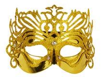 Guld- karnevalmaskering som isoleras på den vita bakgrunden Arkivfoto