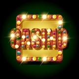 Guld- kasinobaner med lampor royaltyfri illustrationer