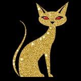 Guld- katt med rubinögon Fotografering för Bildbyråer