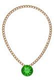 Guld- kedja med gemstonen stock illustrationer