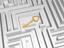 guld- key labyrint Royaltyfri Illustrationer