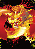 guld- kinesisk drake royaltyfri illustrationer