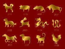 Guld- kinesiska horoskopzodiakdjur Vektorsymboler av året som isoleras på den röda bakgrunden royaltyfri illustrationer