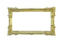 Guld- klassisk ram på vit Royaltyfri Foto