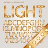 Guld- klassiskt alfabet och siffra Vecto för ljus kula Royaltyfri Fotografi