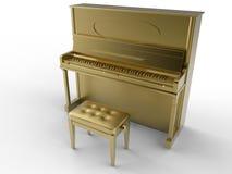 Guld- klassiskt piano Royaltyfri Bild