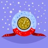 Guld- klocka för dekorativ fantasi som kort efter visar middag eller midnatt vektor illustrationer