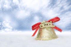 Guld- klocka för jul Fotografering för Bildbyråer