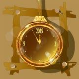 Guld- klocka på en ovanlig dekorativ bakgrund vektor illustrationer