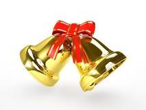 Guld- klockor med en röd bow Royaltyfri Foto