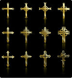 guld- klosterbroder för samlingskorsdesign Royaltyfria Bilder