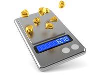 Guld- klumpar med vikt royaltyfri illustrationer