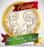 Guld- knapp med helgon Peter och Paul för festmåltiddagen, vektorillustration stock illustrationer