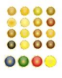 Guld- knappar Stock Illustrationer
