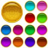 Guld- knappar med mönstrade ädelstenar, uppsättning vektor illustrationer