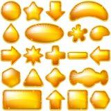 Guld- knappar, set vektor illustrationer