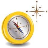 Guld- kompass Fotografering för Bildbyråer
