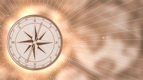 Guld- kompass för tappning på suddig rörelsebakgrund vektor illustrationer
