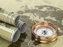 Guld- kompass på världskartabakgrund. royaltyfri illustrationer