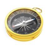 Guld- kompass som isoleras på vit bakgrund Arkivfoto