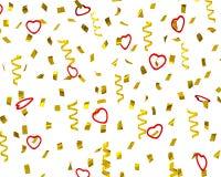 Guld- konfettibanderoller med dekorativa hjärtor, 3d Royaltyfria Foton