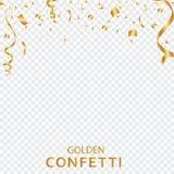 Guld- konfettier, band som isoleras på en genomskinlig bakgrund festlig vektorillustration Festlig händelse och parti vektor illustrationer