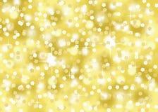 Guld- konfettier blänker för berömabstrakt begrepp för ferie festlig bakgrund för bokeh Royaltyfria Foton