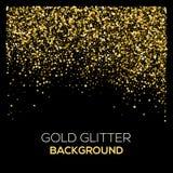 Guld- konfettier blänker på svart bakgrund Abstrakt guldstoft blänker bakgrund Guld- explosion av konfettier guld- Arkivbild