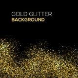 Guld- konfettier blänker på svart bakgrund Abstrakt guldstoft blänker bakgrund Guld- explosion av konfettier guld- Royaltyfri Bild