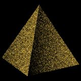 Guld- konfettier för pyramidtriangel Illustration som isoleras på svart royaltyfri illustrationer