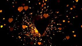 Guld- konfettier och gnistor som flyger mot hjärta stock video