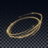 Guld- konfettier och skimrande partiklar på en genomskinlig bakgrund Mallen för designen av spiralen royaltyfri illustrationer