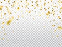 Guld- konfettier p? genomskinlig bakgrund Fallande skinande guld- konfettier Partibakgrund Ljust bl?nka festligt glitter royaltyfri illustrationer