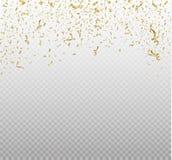 Guld- konfettier som isoleras på cell- bakgrund Mycket små konfettier för festlig vektorillustration med bandet på vit vektor illustrationer