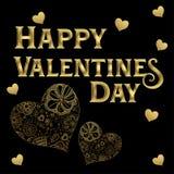 Guld- konstnärliga hjärtor för lycklig för valentin` som s bokstäver för dag guld- isoleras i svart bakgrund stock illustrationer