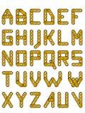 Guld- konstruktionsalfabet royaltyfri illustrationer